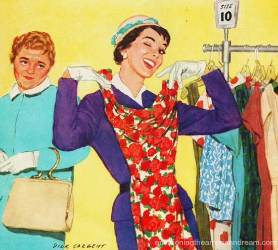 vintage illustration women and dresses in store