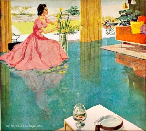 vintage illustration housewife arranging flowers