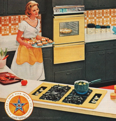 Vintage ad 1960 Housewife in Kitchen