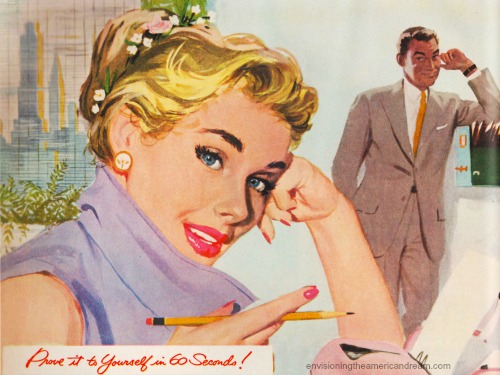 vintage illustration woman secretary being gazed at by her boss
