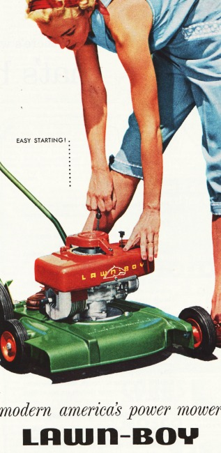 woman and lawn mower 1950s