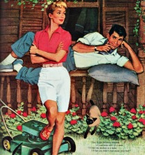 Vintage Illustration woman and man and Lawn Mower