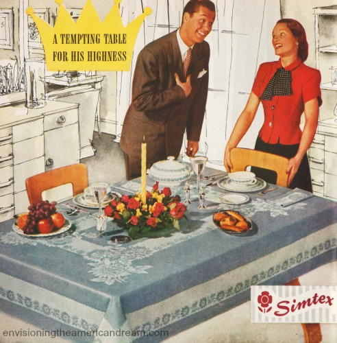 sexist vintage ad happy husband and wife at table