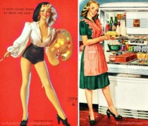 collage vintage pin up and housewife in kitchen