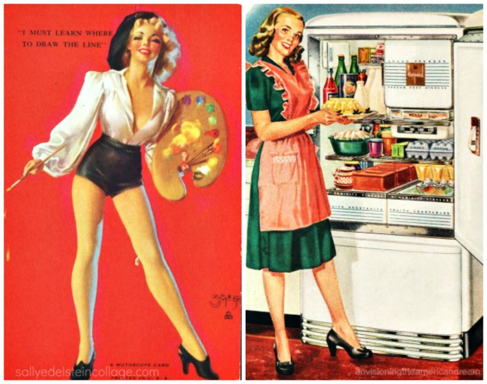 collage  vintage pin up illustration and vintage housewife in kitchen
