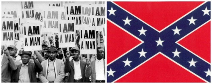 collage Civil Rights I am a Man photo and Confederate Flag