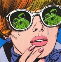 vintage cartoon comic girl in sunglasses