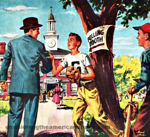 vintage illustration going to the polls