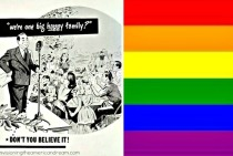 Gay Pride Flag and Vintage illustration