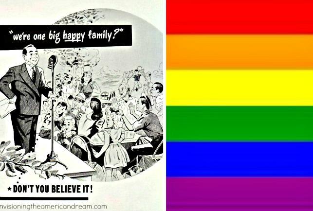 Gay Pride Flag and Vintage illustration