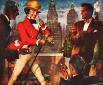 vintage illustration Johnnie Walker in NY