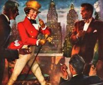 vintage illustration Johnnie Walker in NY