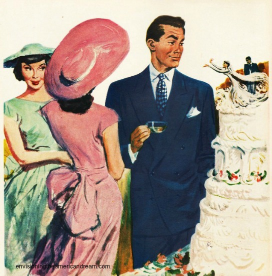 vintage illustration men and women around a wedding cake.
