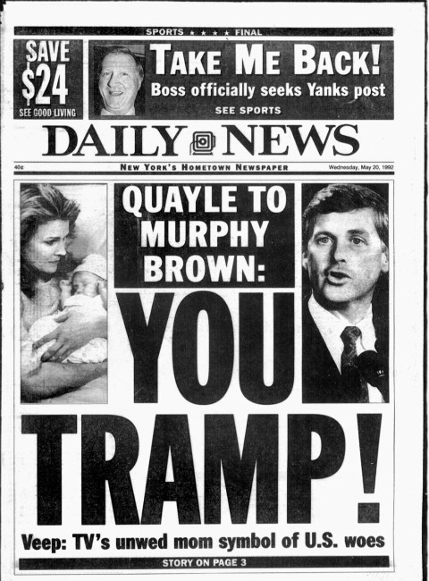 Murphy Brown Dan Quayle Daily News headline
