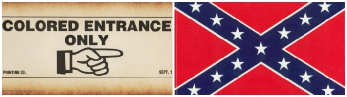 collage Jim Crow era sign and Confederate flag