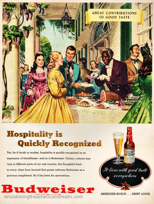 vintage Budweiser ad illustration Southern plantation life