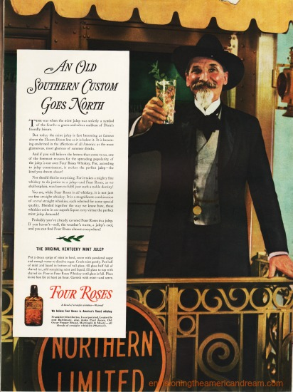 vintage ad showing southern plantation owner Four Roses