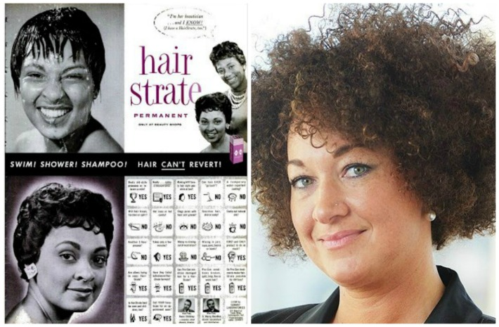 Rachel Dolezal and vintage ad Hair Strate for Blacks