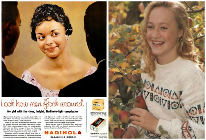collage vintage skin bleaching cream ad and Rachel Dolezal