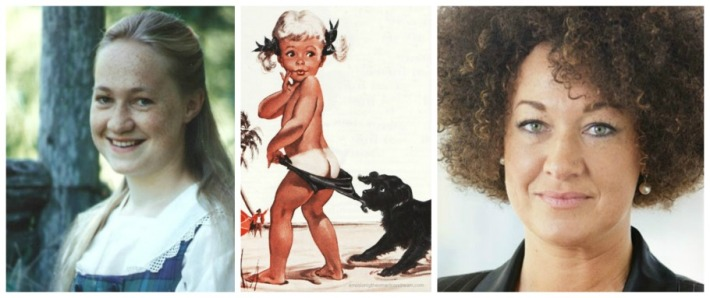 Rachel Dolezal then and now vintage image coppertone girl