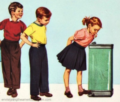 vintage illustration children drinking from water cooler