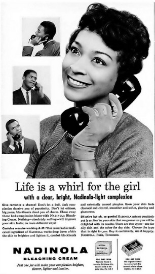 Vintage ad skin bleaching cream nadolina Black woman on telephone