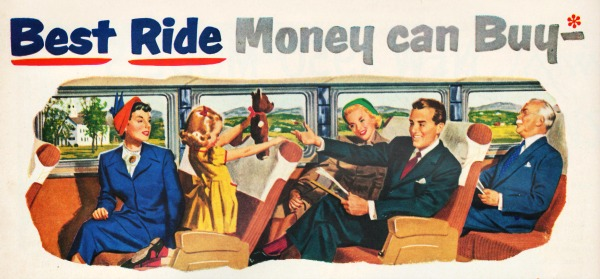vintage illustration white people on greyhond bus travel