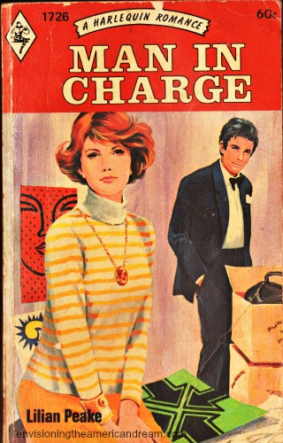vintage book cover  Man in Charge  illustration man and woman
