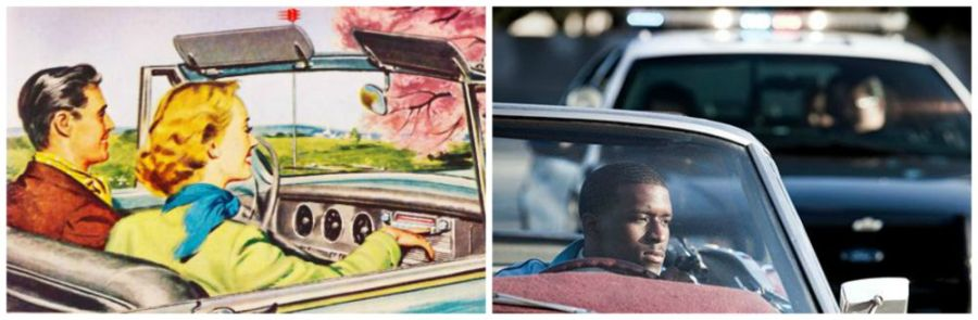 collage Vintage ad white couple driving  and black man stopped in car by police