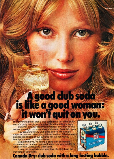 sexist ad woman and Club soda