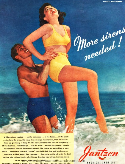 vintage  jantzen ad photo of couple in surf by Hurrell