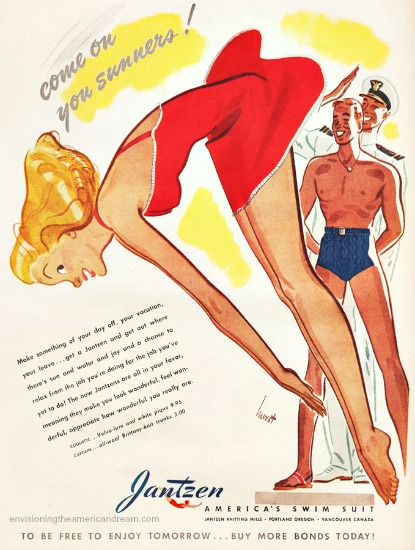 Vintage Jantzen swimsuit ad illustration woman diving as soldiers look on