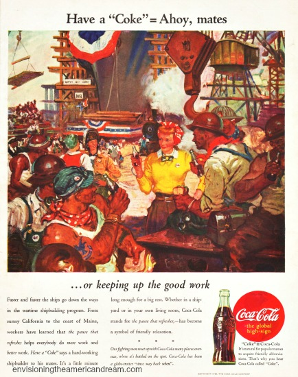 vintage WWII Coke ad illustration shipbuilders enjoying coke