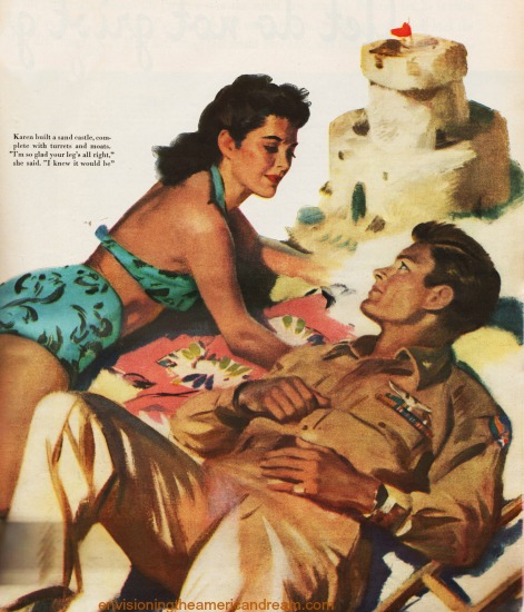 WWII vintage Illustration man and woman on beach