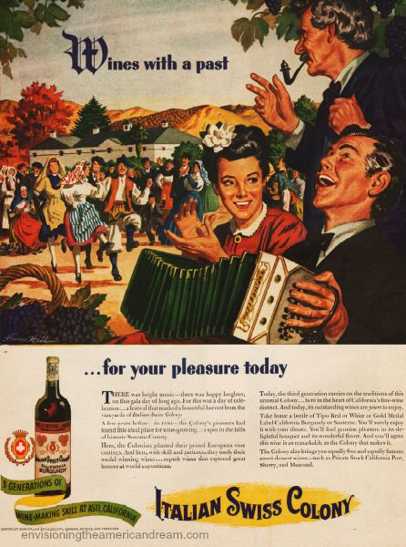 Vintage ad 1944 Italian Swiss Colony Wine illustration Italian village