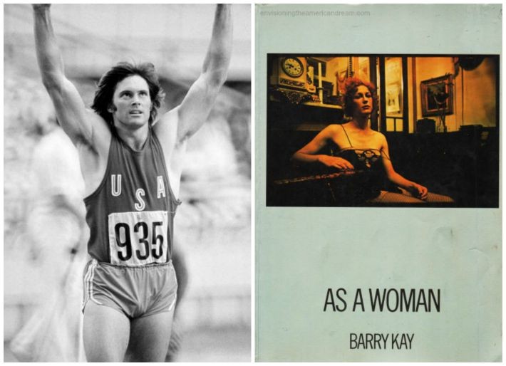 "collage Bruce Jenner Olymoics star and cover of Book ""As a Woman"""