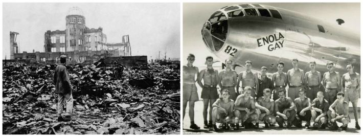 Hiroshima remains and Enola Gay crew