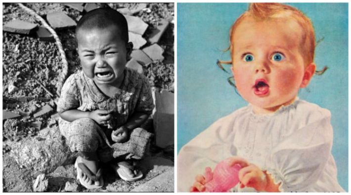 Collage Baby in rubble of Hiroshima and vintage American Suprised baby