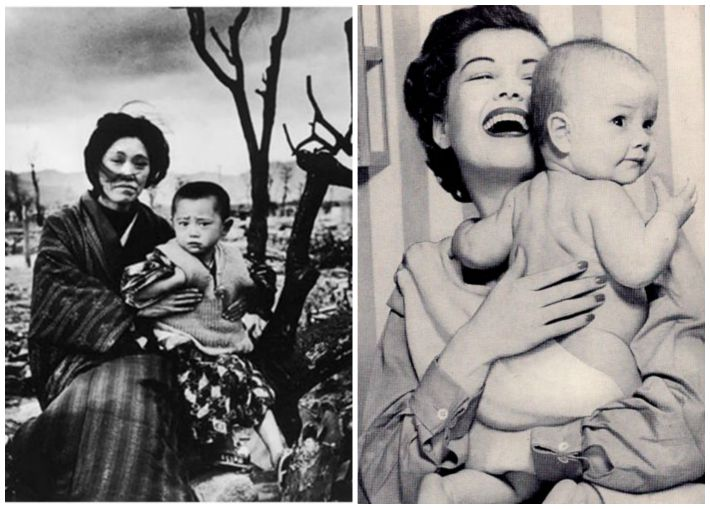 collage Hiroshima Mother and baby and American mother and baby