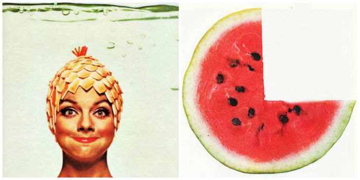 collage vintage picture woman in bathing cap and watermelon