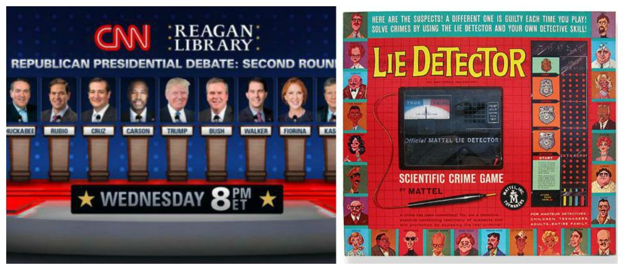Republican cdebate on CNN and Vintage game Lie Detector