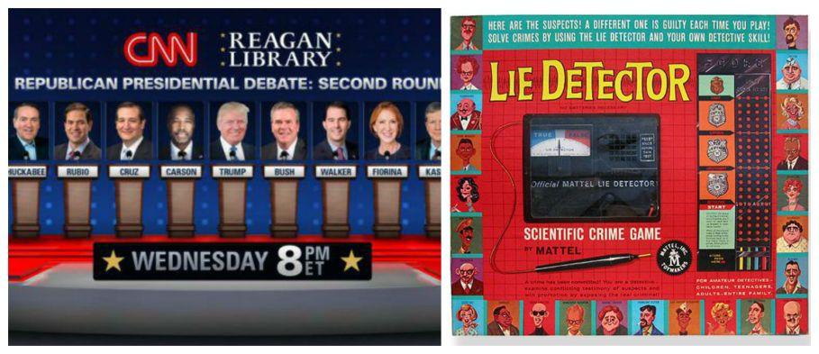 Republican cdebate on CNN and Vintage game Lie Detector