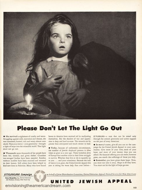Vintage United Jewish Appeal Ad 1947 image of little girl
