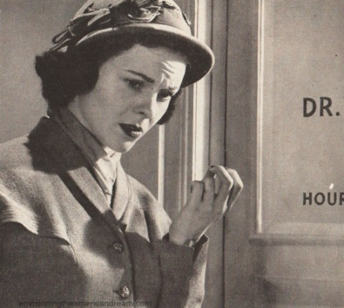 vintage photo woman going into drs office