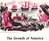 Vintage schoolbook illustration Columbus ships