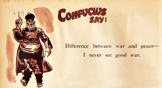 vintage cartoon Confucius War and Peace