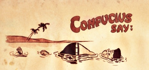 vintage cartoon confuscious in river floating