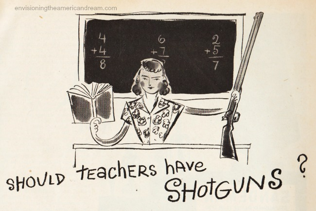 vintage illustration teacher with gun