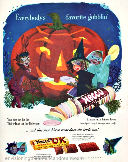 Vintage Halloween ad for Necco candy 1951 illustration trick or treaters