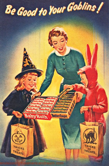 Vintage illustration halloween trick or treating